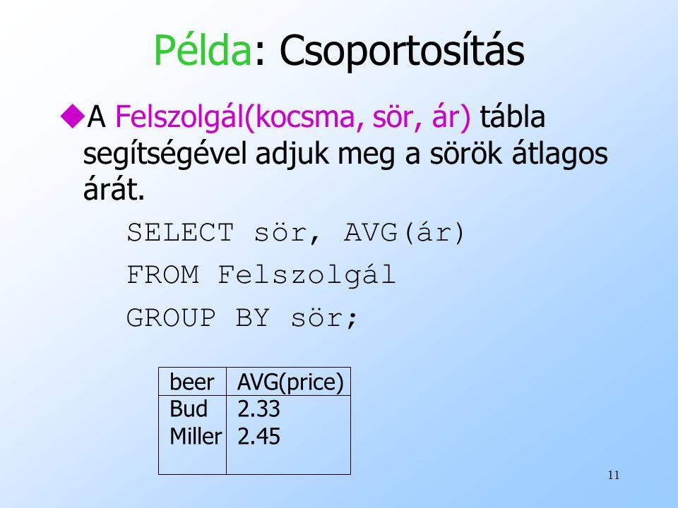 11 Példa: Csoportosítás uA Felszolgál(kocsma, sör, ár) tábla segítségével adjuk meg a sörök átlagos árát. SELECT sör, AVG(ár) FROM Felszolgál GROUP BY