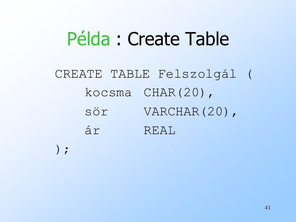 41 Példa : Create Table CREATE TABLE Felszolgál ( kocsmaCHAR(20), sörVARCHAR(20), árREAL );