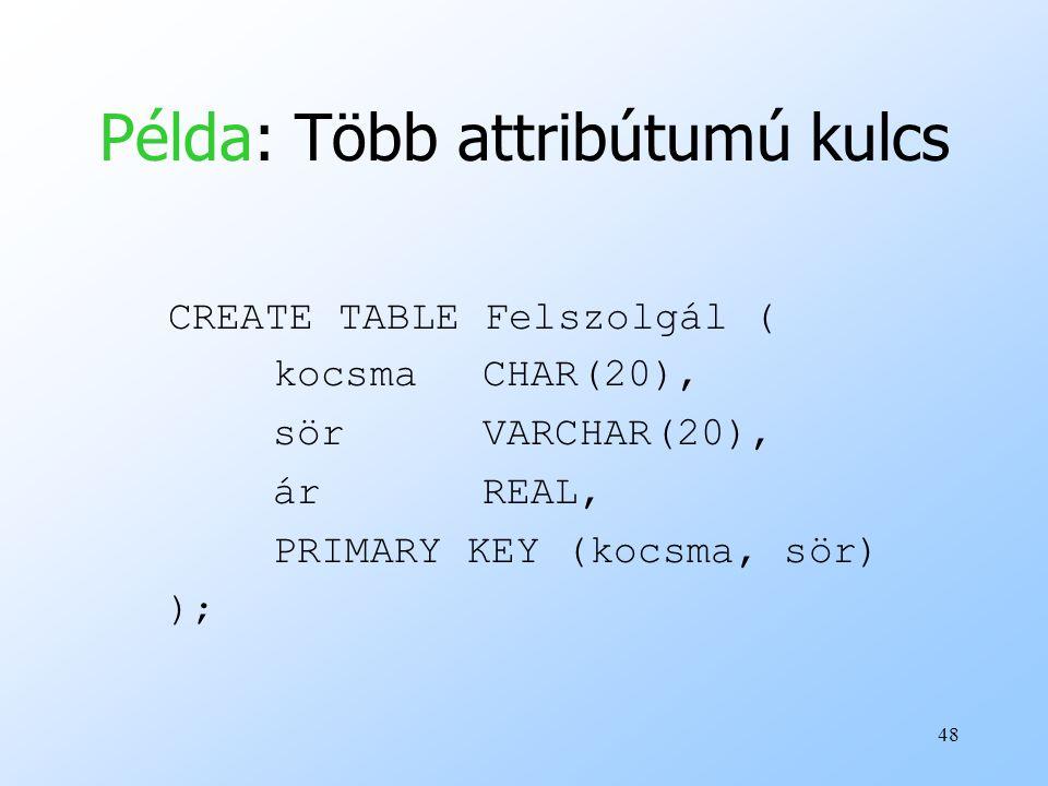 48 Példa: Több attribútumú kulcs CREATE TABLE Felszolgál ( kocsmaCHAR(20), sörVARCHAR(20), árREAL, PRIMARY KEY (kocsma, sör) );