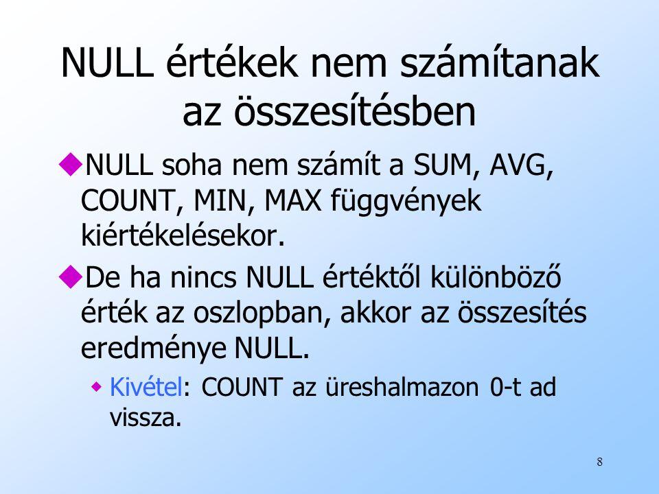 8 NULL értékek nem számítanak az összesítésben uNULL soha nem számít a SUM, AVG, COUNT, MIN, MAX függvények kiértékelésekor. uDe ha nincs NULL értéktő