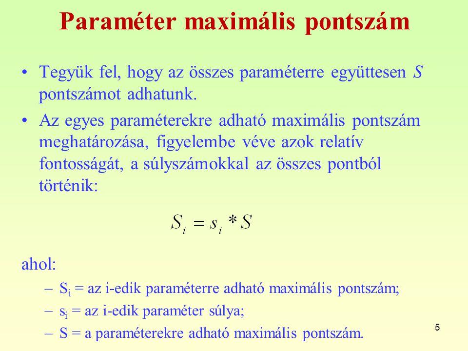 Paraméter maximális pontszám Tegyük fel, hogy az összes paraméterre együttesen S pontszámot adhatunk.