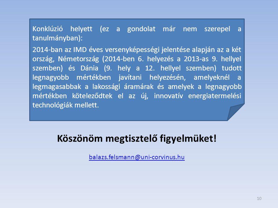 10 Köszönöm megtisztelő figyelmüket! balazs.felsmann@uni-corvinus.hu Konklúzió helyett (ez a gondolat már nem szerepel a tanulmányban): 2014-ban az IM