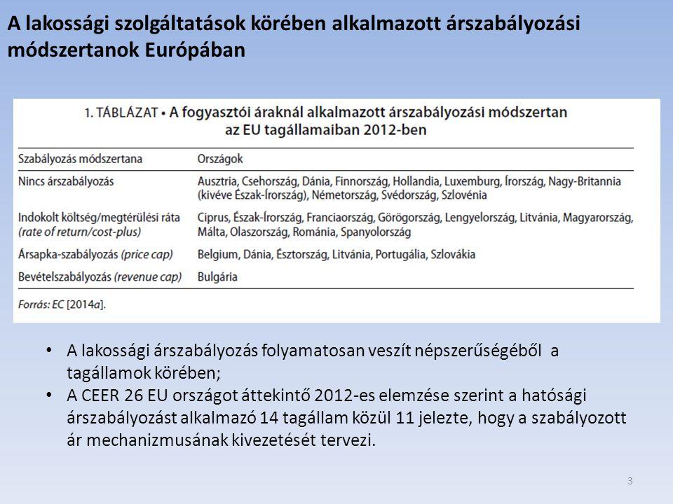 3 A lakossági szolgáltatások körében alkalmazott árszabályozási módszertanok Európában A lakossági árszabályozás folyamatosan veszít népszerűségéből a