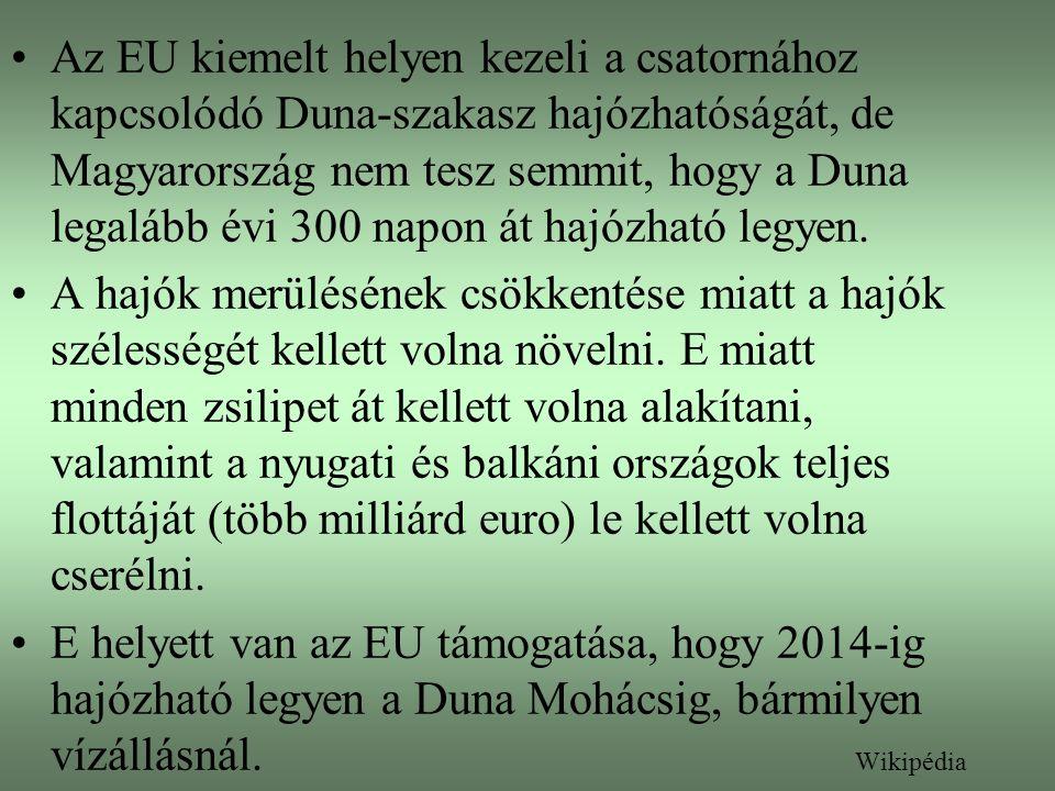Az EU kiemelt helyen kezeli a csatornához kapcsolódó Duna-szakasz hajózhatóságát, de Magyarország nem tesz semmit, hogy a Duna legalább évi 300 napon át hajózható legyen.