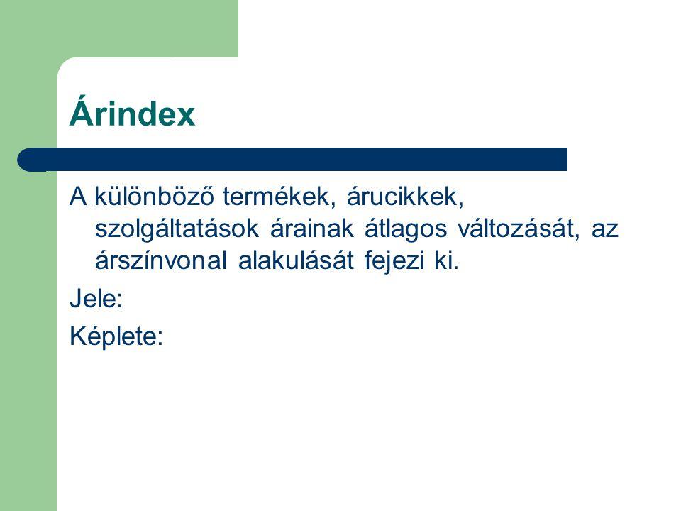 Árindex A különböző termékek, árucikkek, szolgáltatások árainak átlagos változását, az árszínvonal alakulását fejezi ki.