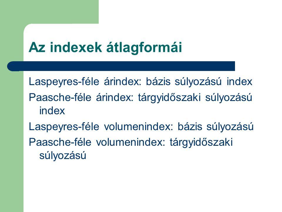 Az indexek átlagformái Laspeyres-féle árindex: bázis súlyozású index Paasche-féle árindex: tárgyidőszaki súlyozású index Laspeyres-féle volumenindex: bázis súlyozású Paasche-féle volumenindex: tárgyidőszaki súlyozású