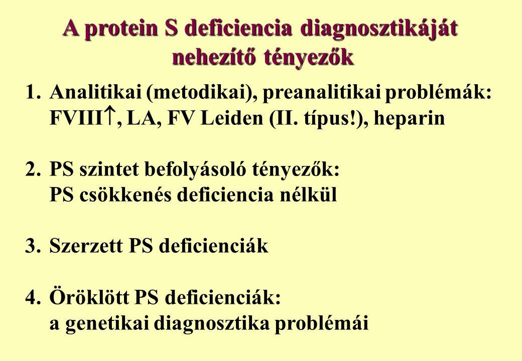 A protein S deficiencia diagnosztikáját nehezítő tényezők 1. Analitikai (metodikai), preanalitikai problémák: FVIII , LA, FV Leiden (II. típus!), hep