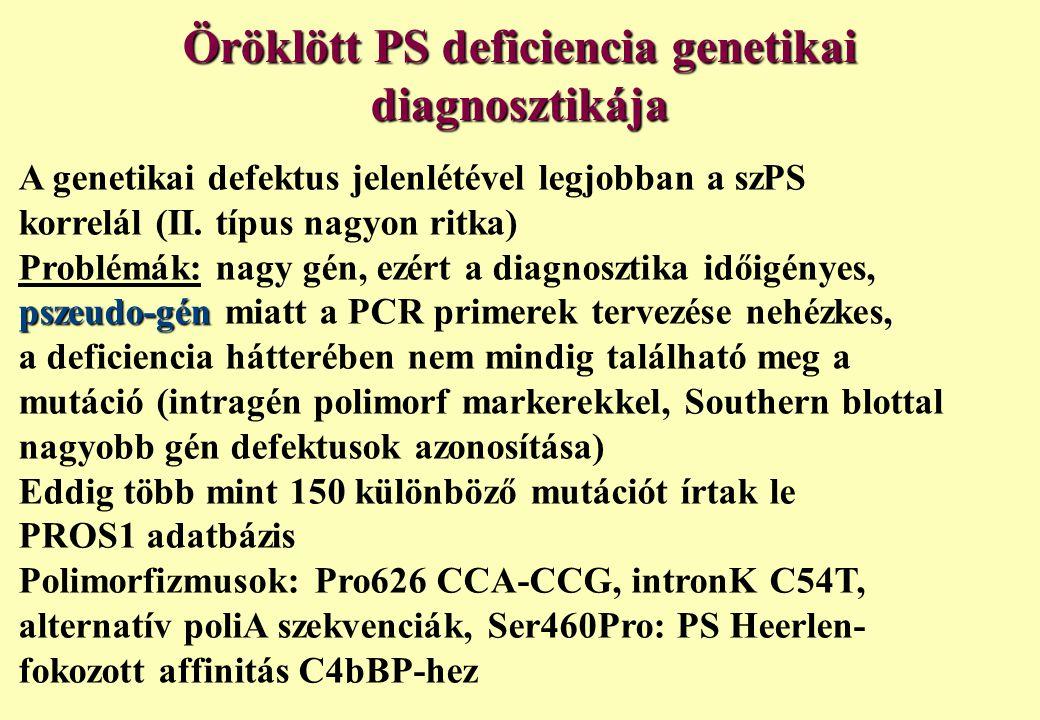 Öröklött PS deficiencia genetikai diagnosztikája A genetikai defektus jelenlétével legjobban a szPS korrelál (II. típus nagyon ritka) Problémák: nagy