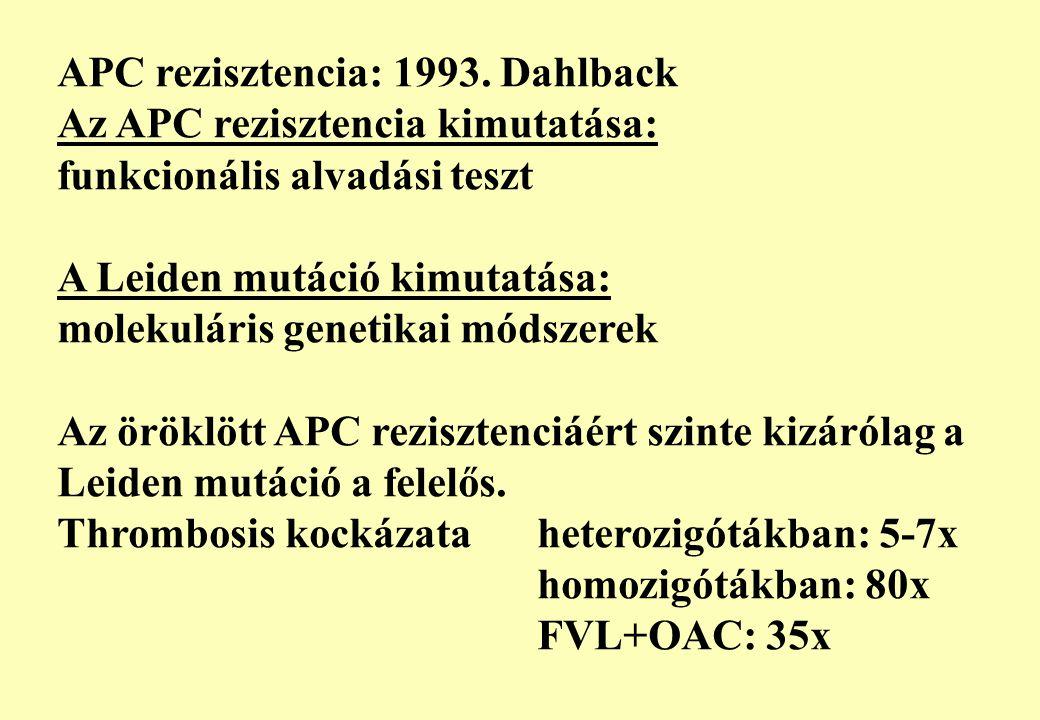 APC rezisztencia: 1993. Dahlback Az APC rezisztencia kimutatása: funkcionális alvadási teszt A Leiden mutáció kimutatása: molekuláris genetikai módsze