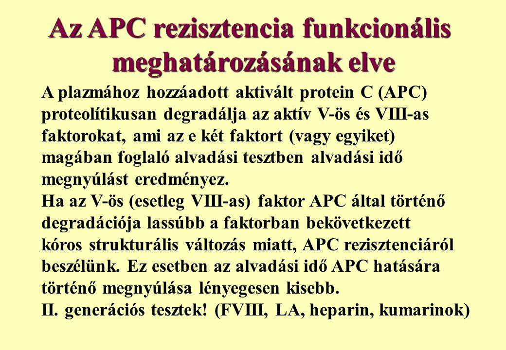 Az APC rezisztencia funkcionális meghatározásának elve A plazmához hozzáadott aktivált protein C (APC) proteolítikusan degradálja az aktív V-ös és VII