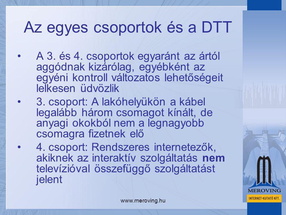 www.meroving.hu Az egyes csoportok és a DTT A 3. és 4. csoportok egyaránt az ártól aggódnak kizárólag, egyébként az egyéni kontroll változatos lehetős