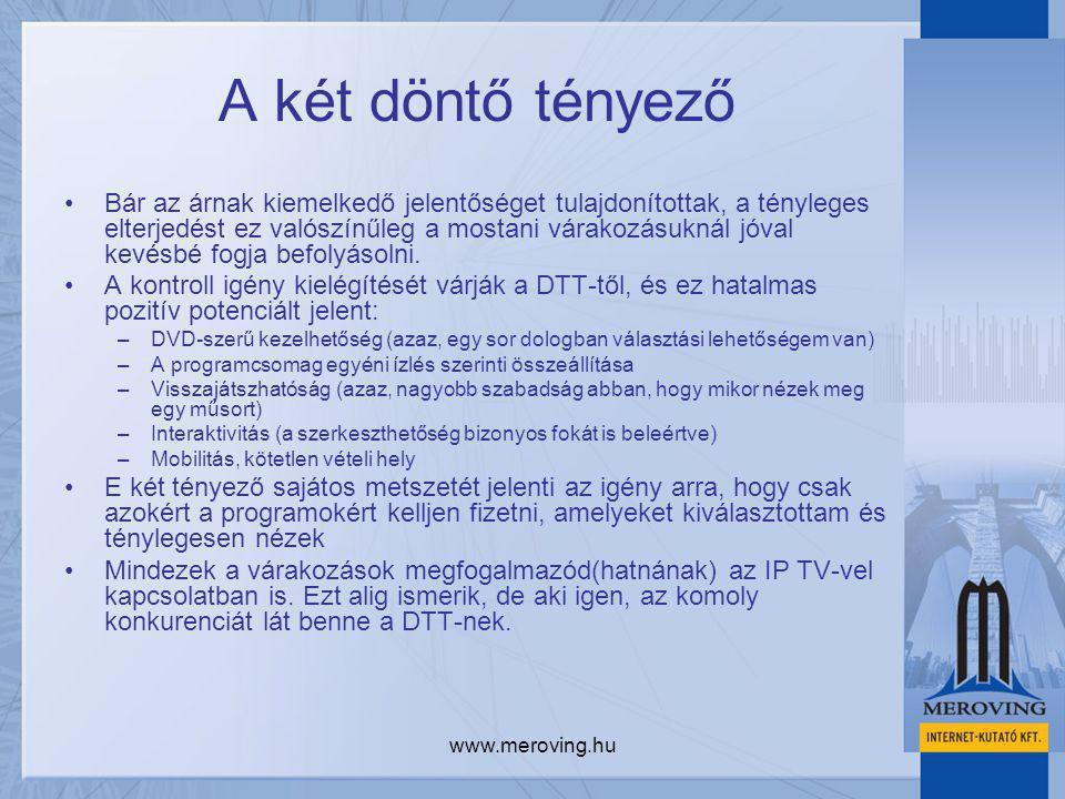 www.meroving.hu A két döntő tényező Bár az árnak kiemelkedő jelentőséget tulajdonítottak, a tényleges elterjedést ez valószínűleg a mostani várakozásuknál jóval kevésbé fogja befolyásolni.