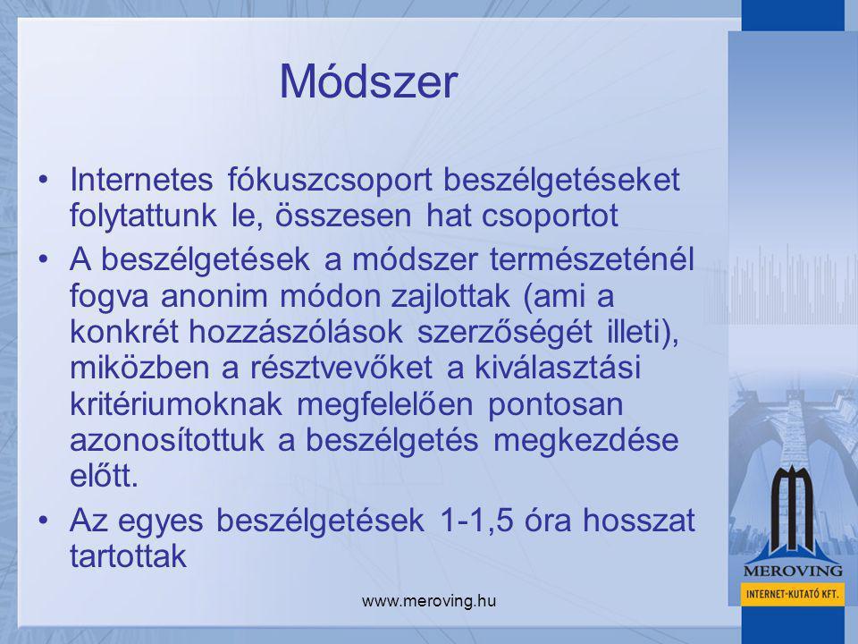 www.meroving.hu Módszer Internetes fókuszcsoport beszélgetéseket folytattunk le, összesen hat csoportot A beszélgetések a módszer természeténél fogva