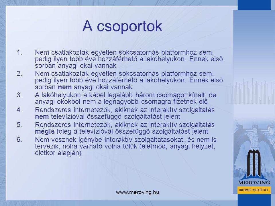www.meroving.hu A csoportok 1.Nem csatlakoztak egyetlen sokcsatornás platformhoz sem, pedig ilyen több éve hozzáférhető a lakóhelyükön. Ennek első sor