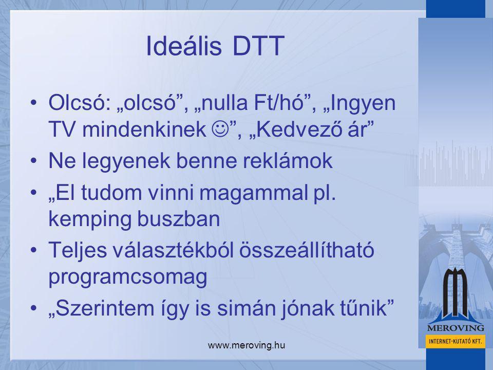 """www.meroving.hu Ideális DTT Olcsó: """"olcsó"""", """"nulla Ft/hó"""", """"Ingyen TV mindenkinek """", """"Kedvező ár"""" Ne legyenek benne reklámok """"El tudom vinni magammal"""