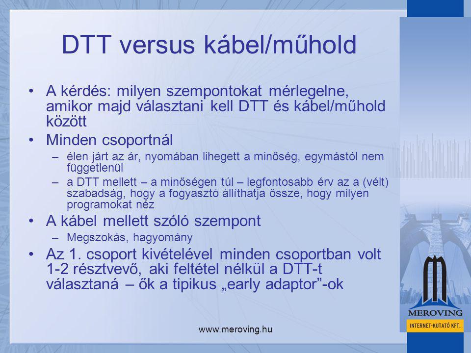 www.meroving.hu DTT versus kábel/műhold A kérdés: milyen szempontokat mérlegelne, amikor majd választani kell DTT és kábel/műhold között Minden csopor