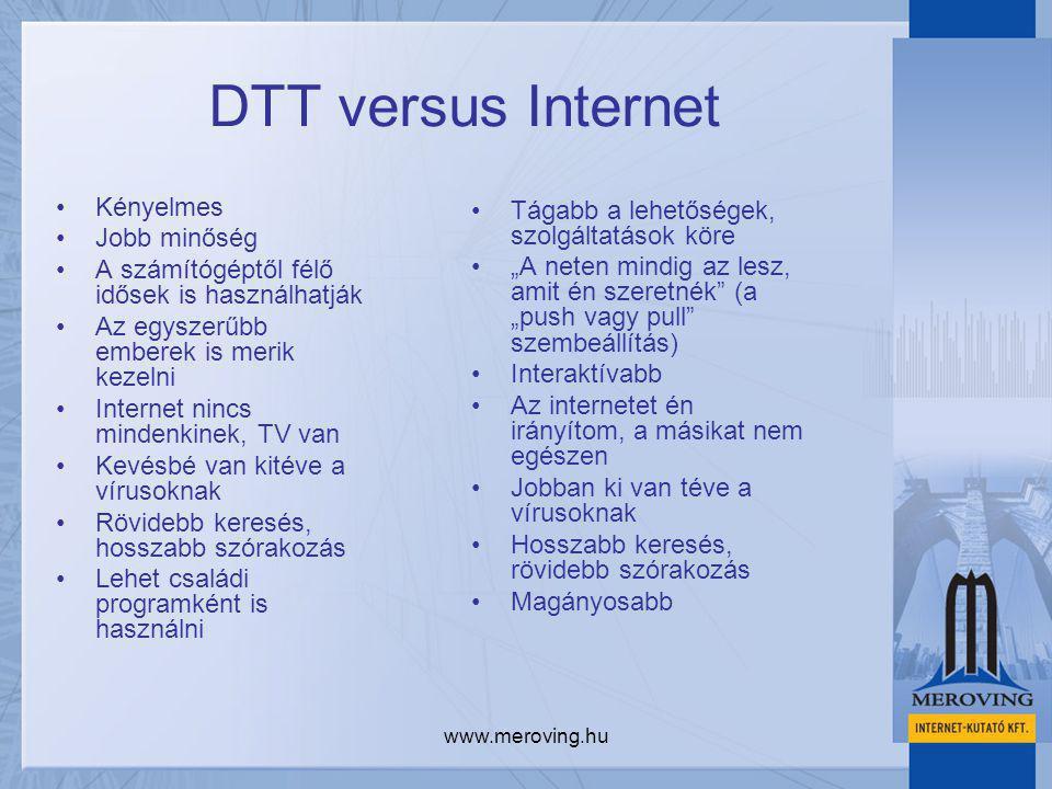 """www.meroving.hu DTT versus Internet Kényelmes Jobb minőség A számítógéptől félő idősek is használhatják Az egyszerűbb emberek is merik kezelni Internet nincs mindenkinek, TV van Kevésbé van kitéve a vírusoknak Rövidebb keresés, hosszabb szórakozás Lehet családi programként is használni Tágabb a lehetőségek, szolgáltatások köre """"A neten mindig az lesz, amit én szeretnék (a """"push vagy pull szembeállítás) Interaktívabb Az internetet én irányítom, a másikat nem egészen Jobban ki van téve a vírusoknak Hosszabb keresés, rövidebb szórakozás Magányosabb"""