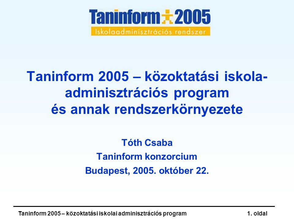 Taninform 2005 – közoktatási iskolai adminisztrációs program1.