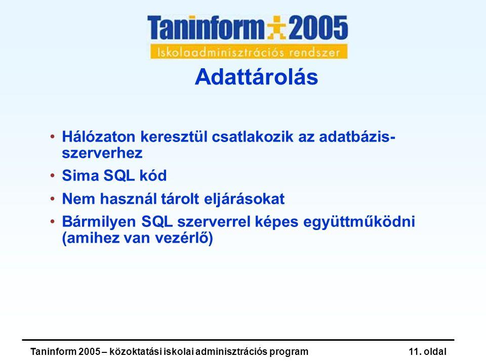 Taninform 2005 – közoktatási iskolai adminisztrációs program11.
