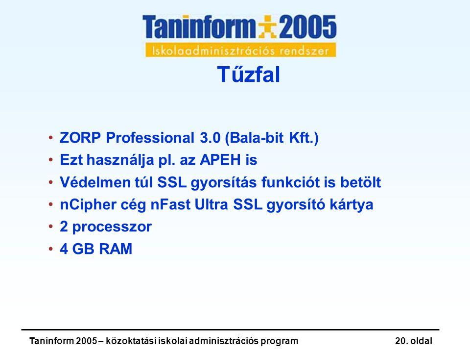 Taninform 2005 – közoktatási iskolai adminisztrációs program20.