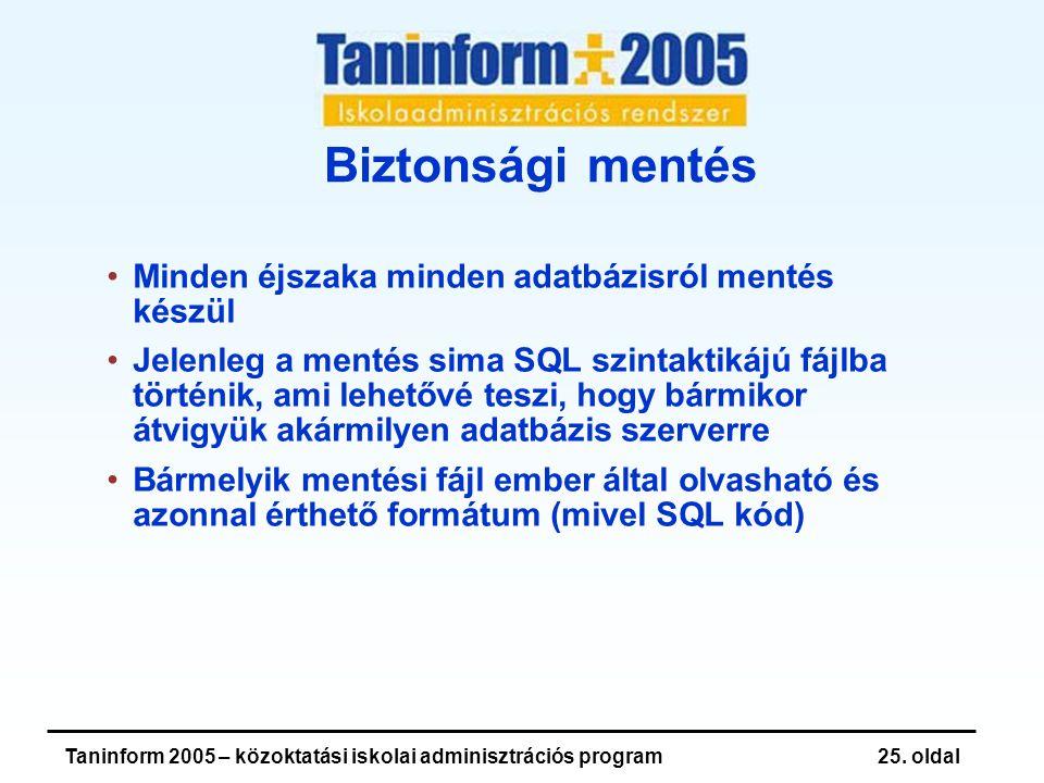 Taninform 2005 – közoktatási iskolai adminisztrációs program25.