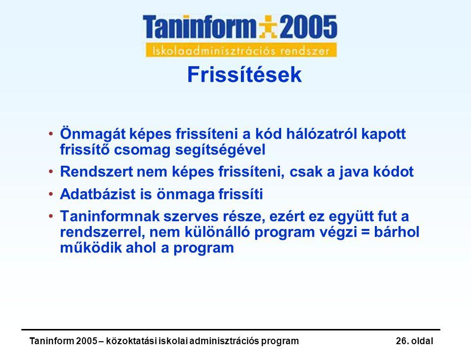 Taninform 2005 – közoktatási iskolai adminisztrációs program26.