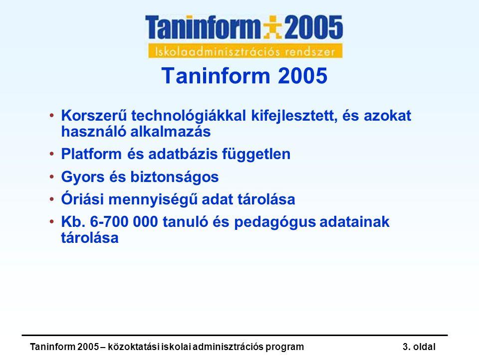 Taninform 2005 – közoktatási iskolai adminisztrációs program3.