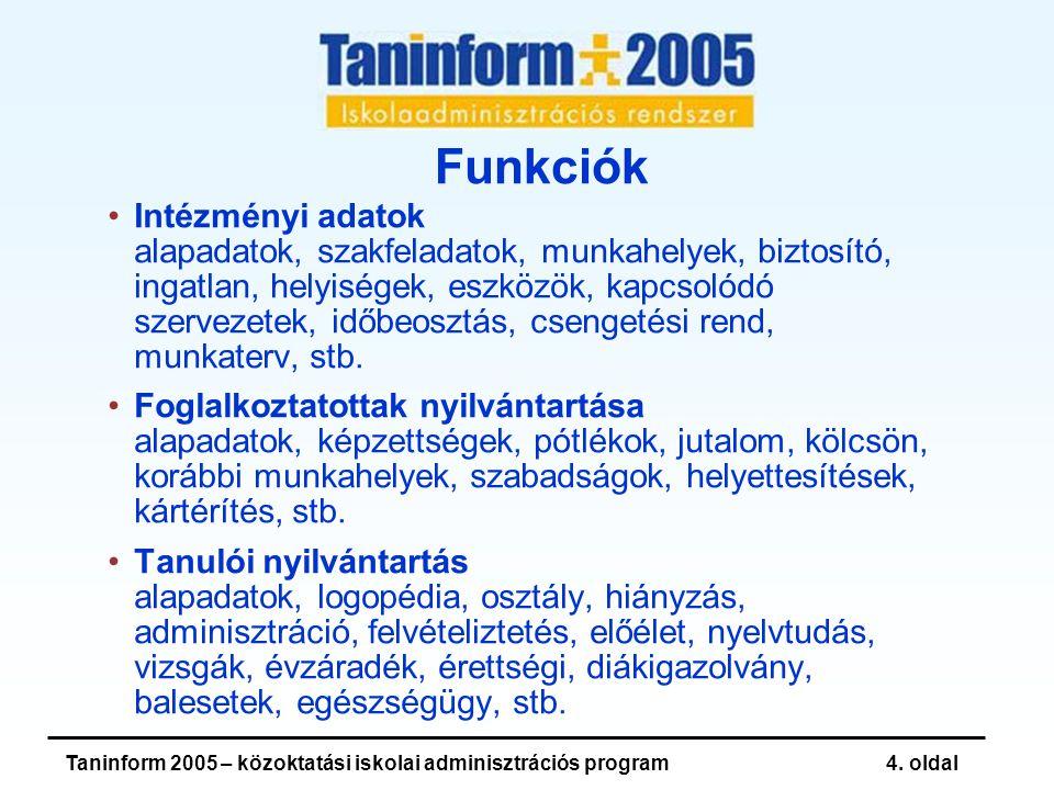 Taninform 2005 – közoktatási iskolai adminisztrációs program15.