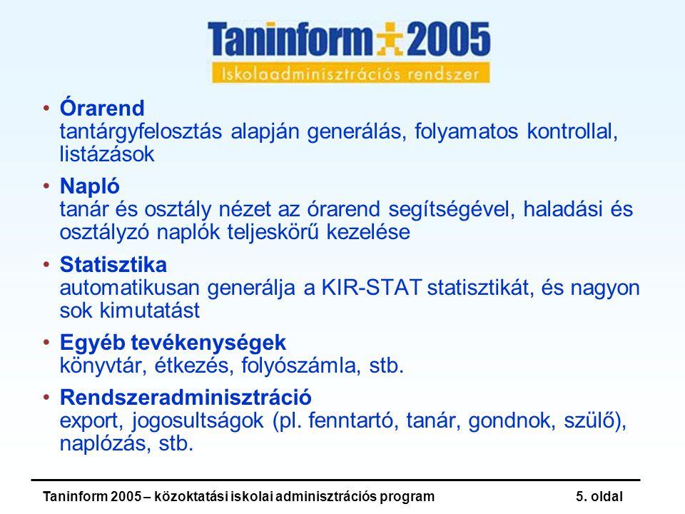 Taninform 2005 – közoktatási iskolai adminisztrációs program16.
