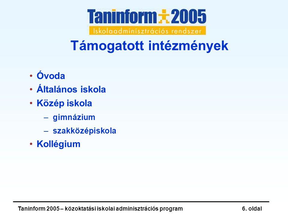 Taninform 2005 – közoktatási iskolai adminisztrációs program7.