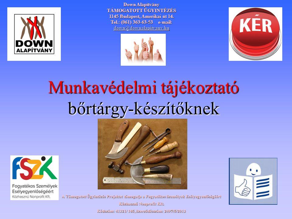 Munkavédelmi tájékoztató bőrtárgy-készítőknek Down Alapítvány TÁMOGATOTT ÜGYINTÉZÉS 1145 Budapest, Amerikai út 14. Tel.: (061) 363-63-53 e-mail: down@
