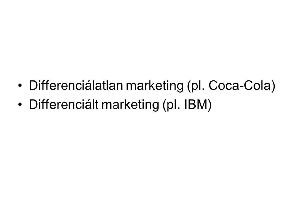 Differenciálatlan marketing (pl. Coca-Cola) Differenciált marketing (pl. IBM)