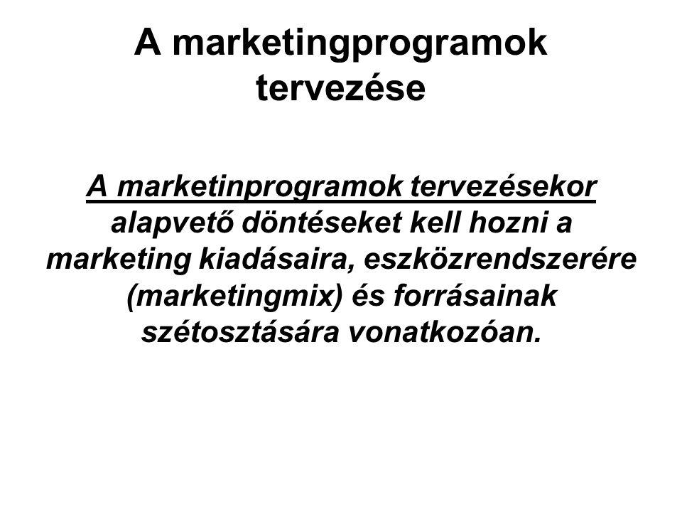 A marketingprogramok tervezése A marketinprogramok tervezésekor alapvető döntéseket kell hozni a marketing kiadásaira, eszközrendszerére (marketingmix
