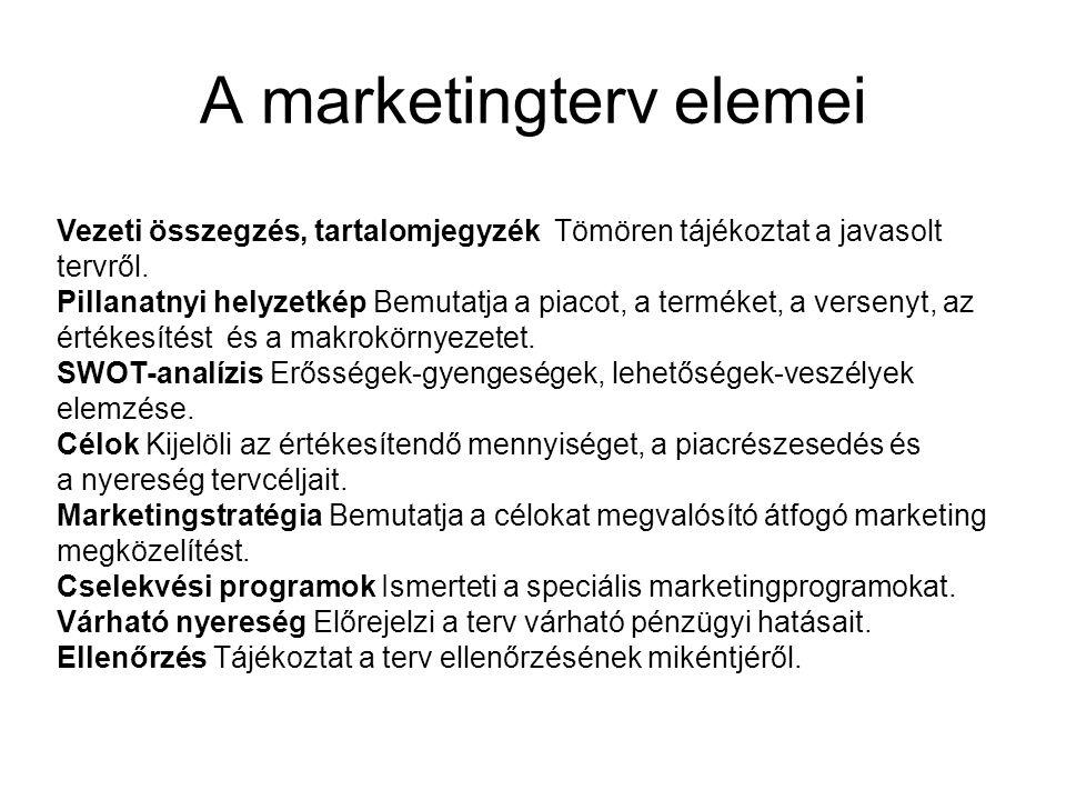 A marketingterv elemei Vezeti összegzés, tartalomjegyzék Tömören tájékoztat a javasolt tervről. Pillanatnyi helyzetkép Bemutatja a piacot, a terméket,