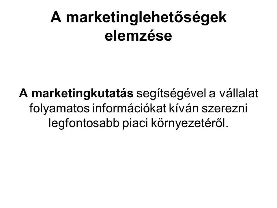 A marketinglehetőségek elemzése A marketingkutatás segítségével a vállalat folyamatos információkat kíván szerezni legfontosabb piaci környezetéről.