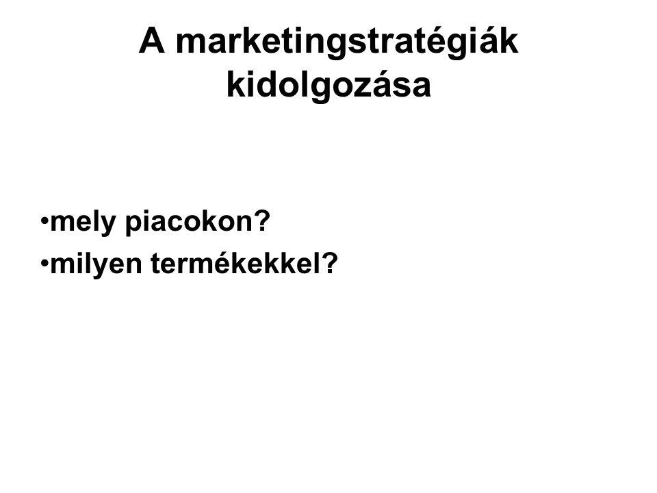 A marketingstratégiák kidolgozása mely piacokon? milyen termékekkel?