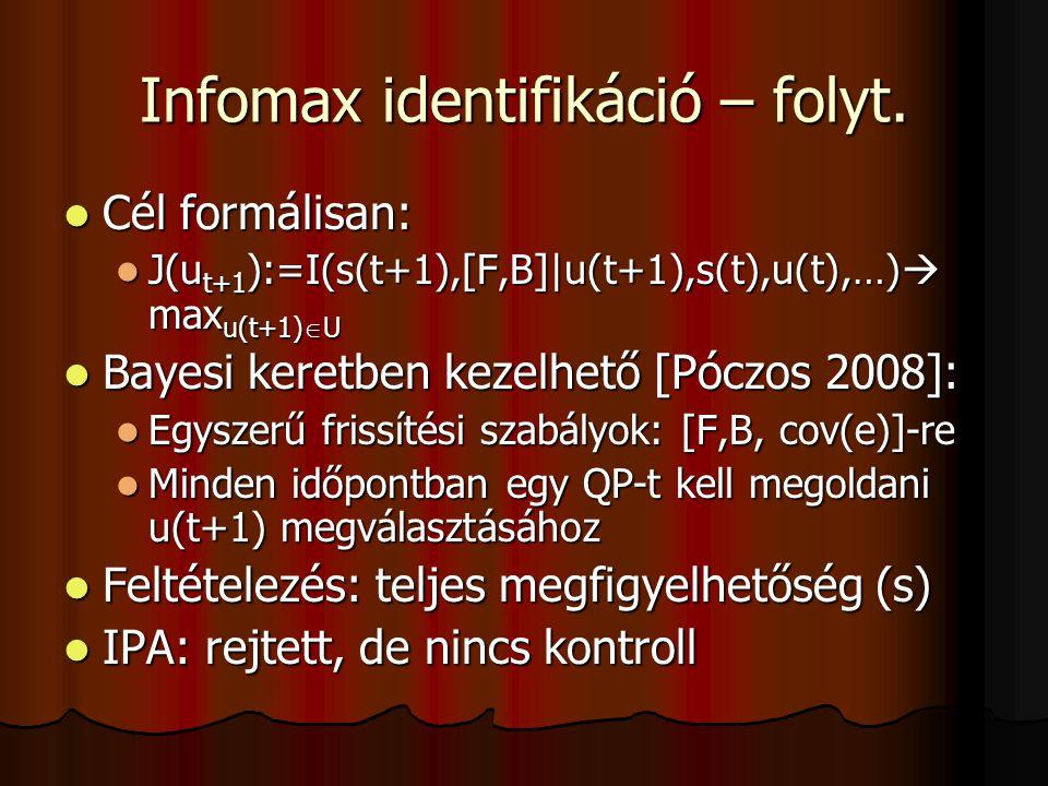 Infomax identifikáció – folyt.