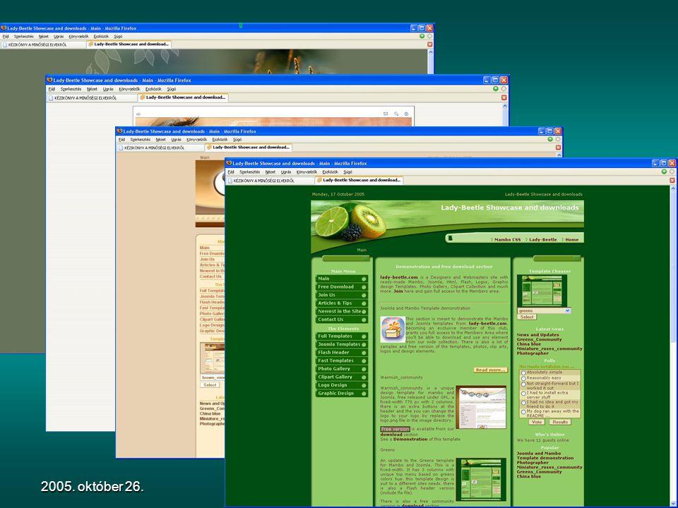 2005. október 26.Könyvtári honlapok megújításaSablonok