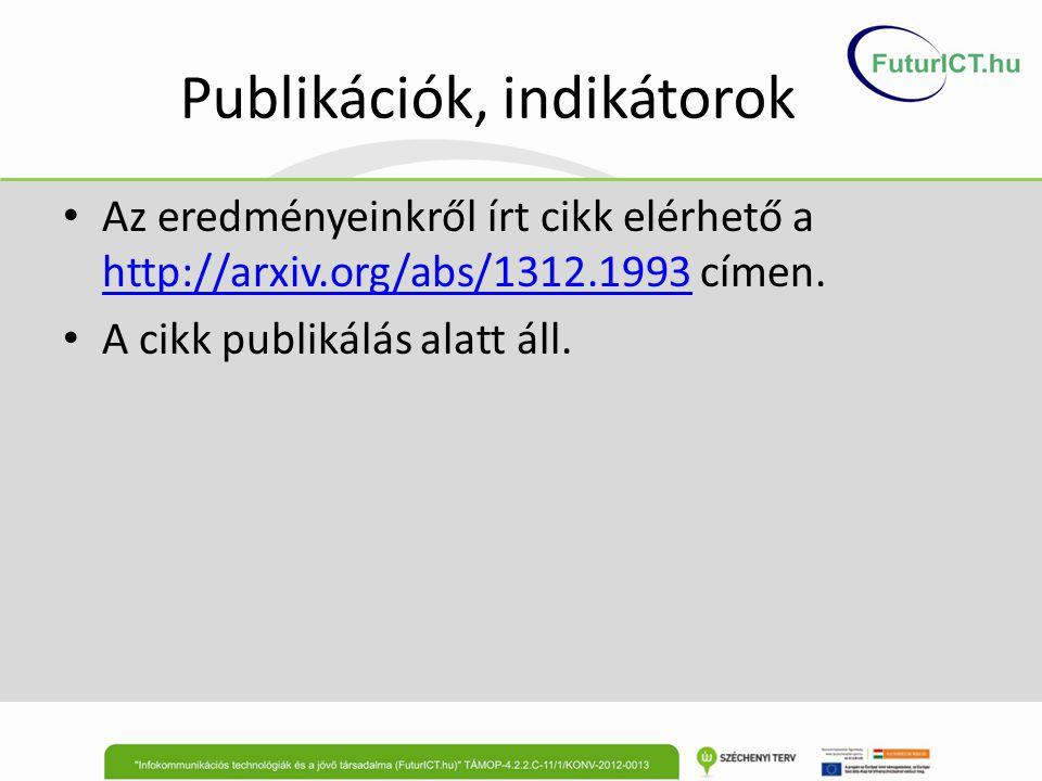 Publikációk, indikátorok Az eredményeinkről írt cikk elérhető a http://arxiv.org/abs/1312.1993 címen. http://arxiv.org/abs/1312.1993 A cikk publikálás