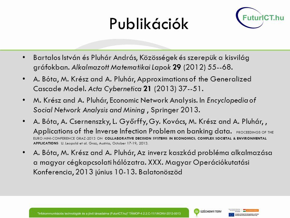 Publikációk Bartalos István és Pluhár András, Közösségek és szerepük a kisvilág gráfokban. Alkalmazott Matematikai Lapok 29 (2012) 55--68. A. Bóta, M.