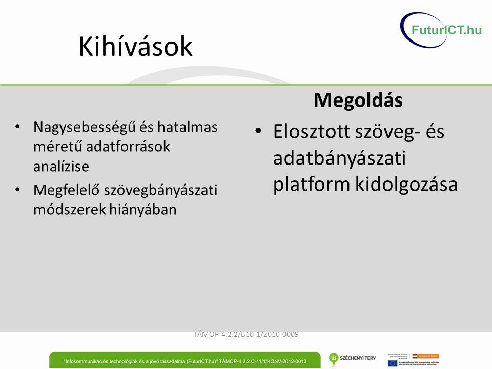 Kihívások Nagysebességű és hatalmas méretű adatforrások analízise Megfelelő szövegbányászati módszerek hiányában TÁMOP-4.2.2/B10-1/2010-0009 Megoldás