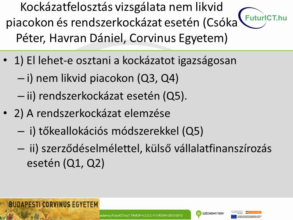 Kockázatfelosztás vizsgálata nem likvid piacokon és rendszerkockázat esetén (Csóka Péter, Havran Dániel, Corvinus Egyetem) 1) El lehet-e osztani a koc
