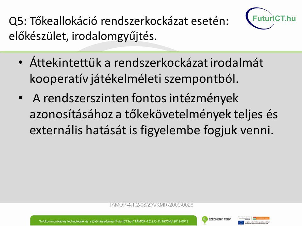 Q5: Tőkeallokáció rendszerkockázat esetén: előkészület, irodalomgyűjtés. Áttekintettük a rendszerkockázat irodalmát kooperatív játékelméleti szempontb