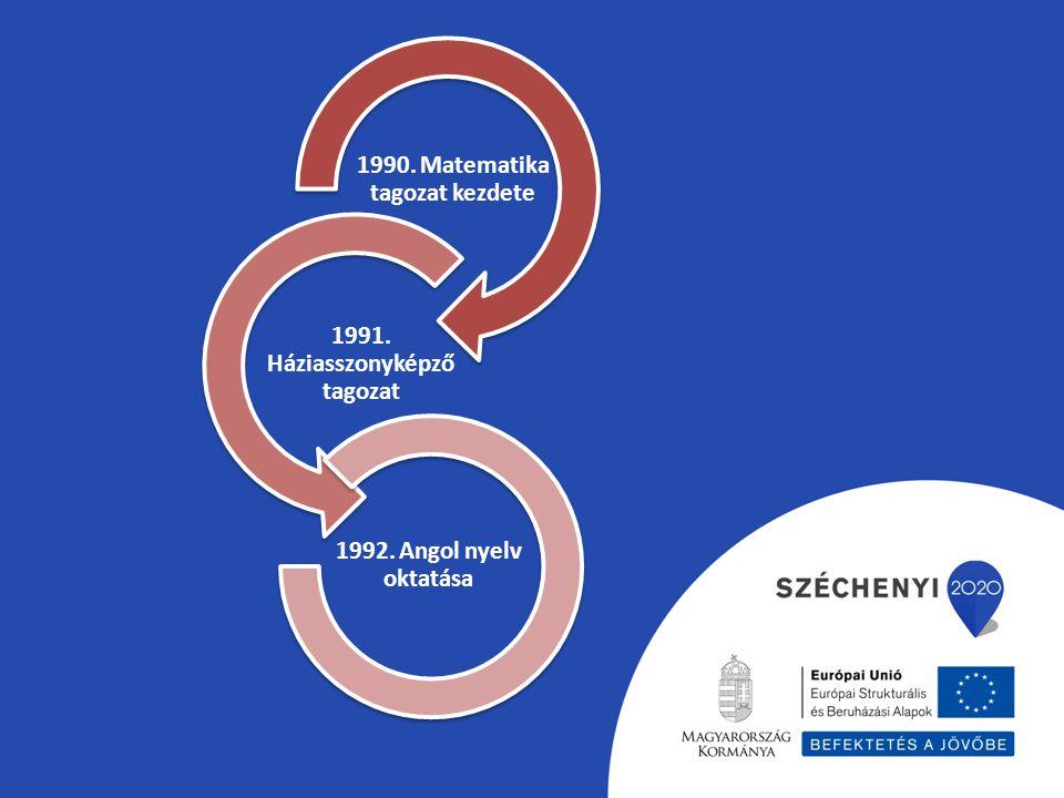 1990. Matematika tagozat kezdete 1991. Háziasszonyképző tagozat 1992. Angol nyelv oktatása
