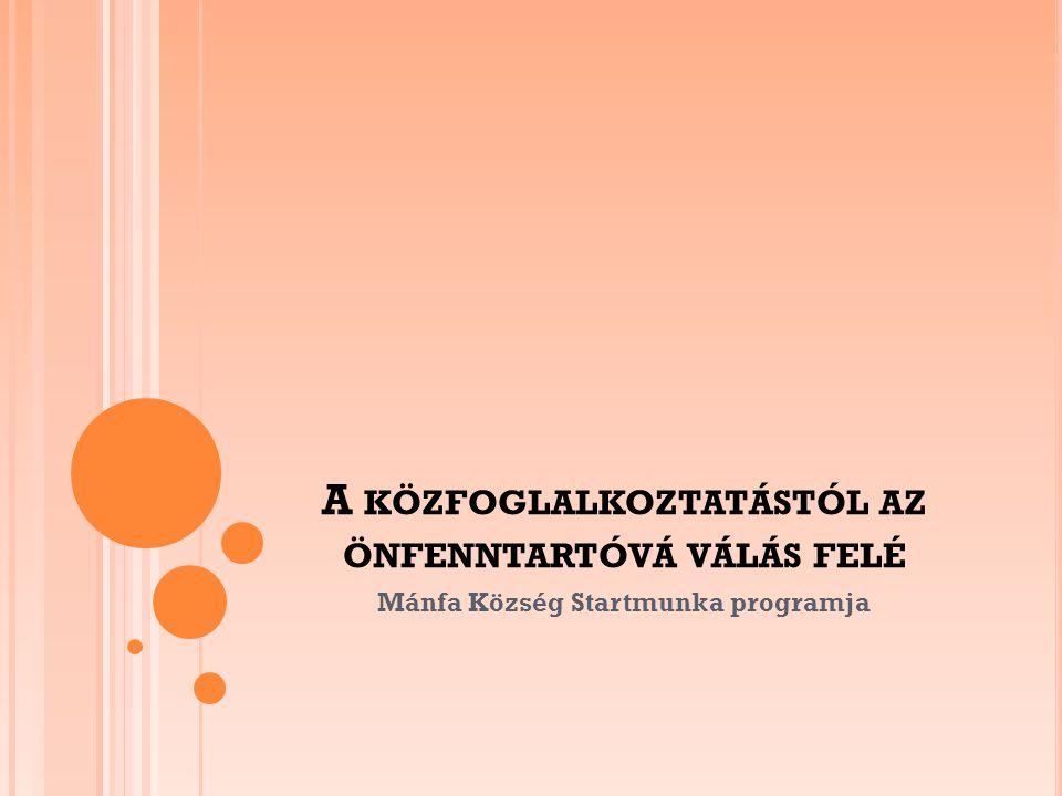 A KÖZFOGLALKOZTATÁSTÓL AZ ÖNFENNTARTÓVÁ VÁLÁS FELÉ Mánfa Község Startmunka programja