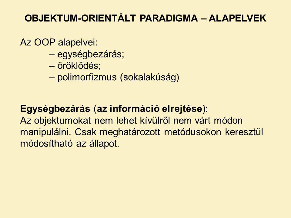 Az OOP alapelvei: – egységbezárás; – öröklődés; – polimorfizmus (sokalakúság) OBJEKTUM-ORIENTÁLT PARADIGMA – ALAPELVEK Egységbezárás (az információ elrejtése): Az objektumokat nem lehet kívülről nem várt módon manipulálni.