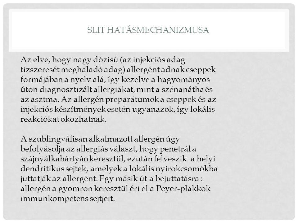 SLIT HATÁSMECHANIZMUSA Az elve, hogy nagy dózisú (az injekciós adag tízszeresét meghaladó adag) allergént adnak cseppek formájában a nyelv alá, így kezelve a hagyományos úton diagnosztizált allergiákat, mint a szénanátha és az asztma.