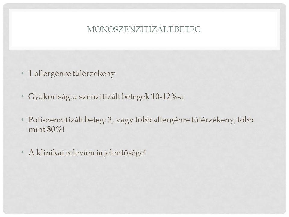 MONOSZENZITIZÁLT BETEG 1 allergénre túlérzékeny Gyakoriság: a szenzitizált betegek 10-12%-a Poliszenzitizált beteg: 2, vagy több allergénre túlérzéken