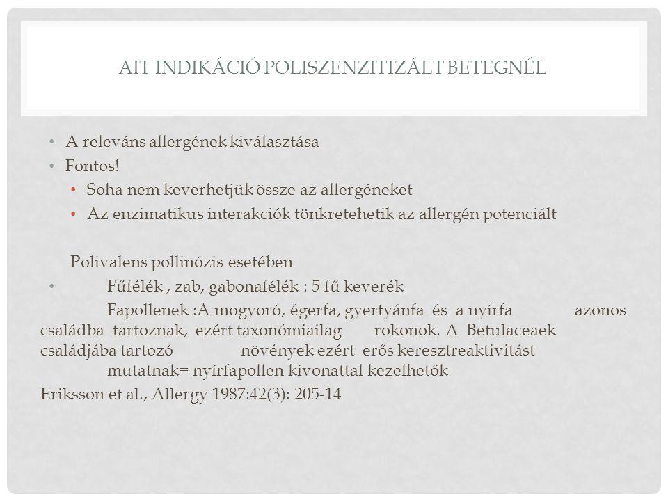 AIT INDIKÁCIÓ POLISZENZITIZÁLT BETEGNÉL A releváns allergének kiválasztása Fontos! Soha nem keverhetjük össze az allergéneket Az enzimatikus interakci