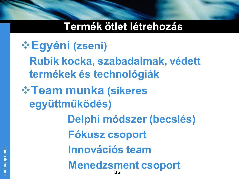 company name 23 Termék ötlet létrehozás  Egyéni (zseni) Rubik kocka, szabadalmak, védett termékek és technológiák  Team munka (sikeres együttműködés